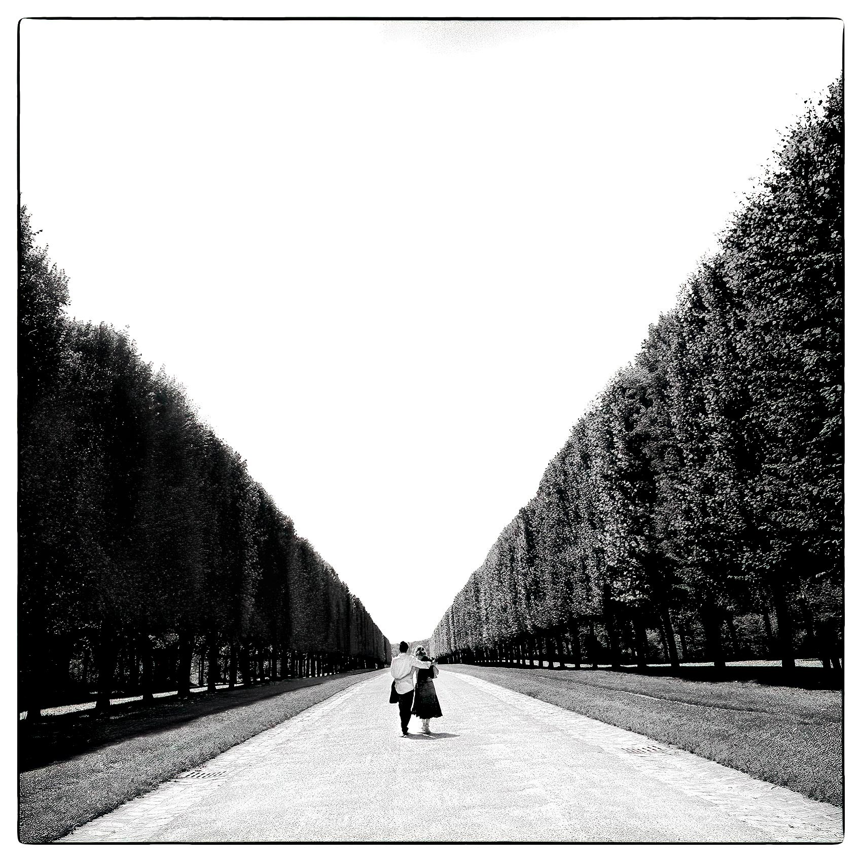 a-couple-are-framed-by-trees-as-they-walk-down-the-road-leading-to-the-exit-of-chateau-de-versailles