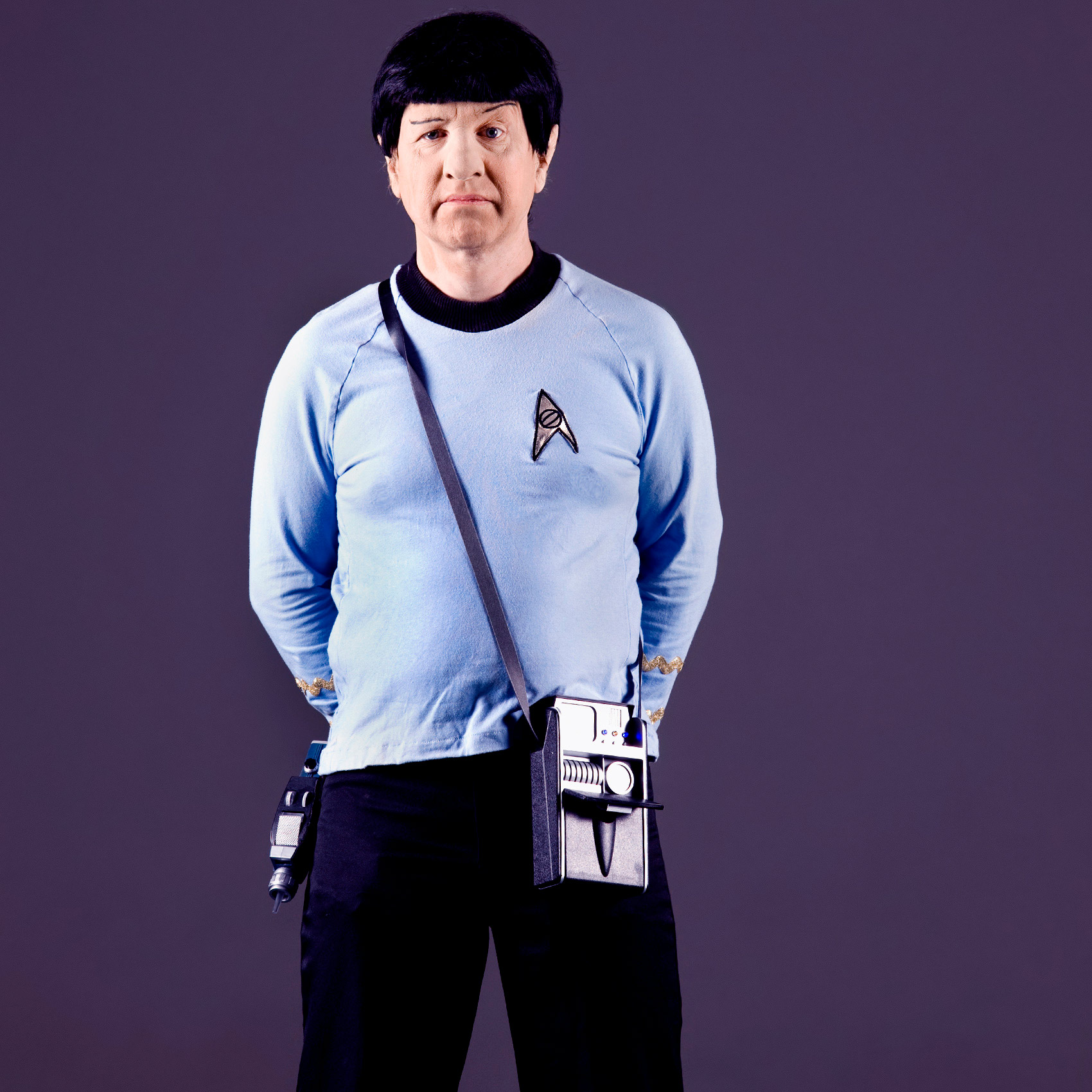 a funny portrait of a man dressed as spock from star trek at toronto comicon