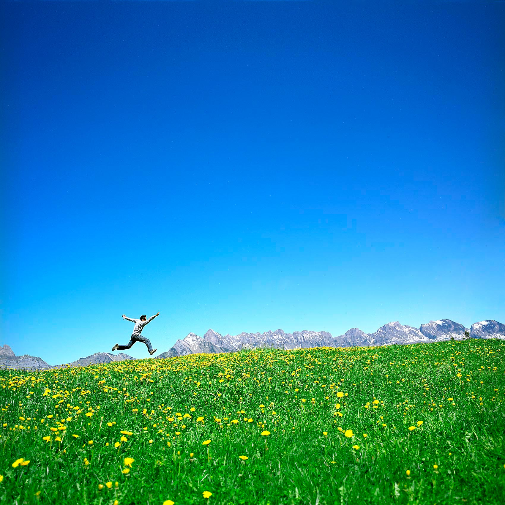 a man jumps in a green field with the swiss alps behind him in
