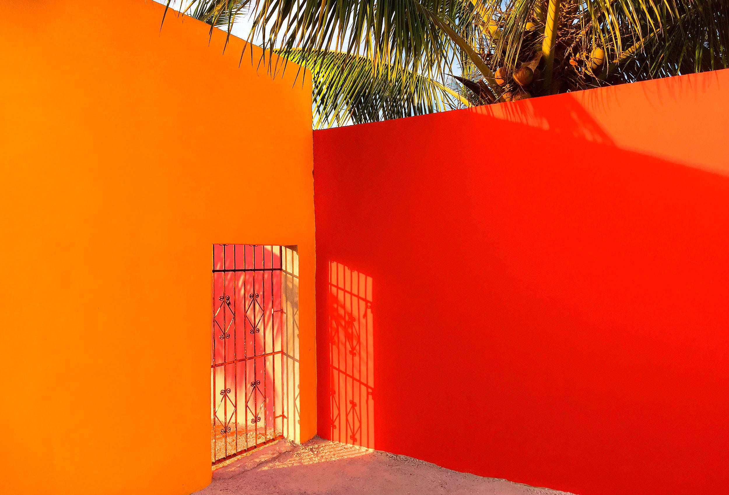 beautiful bright contrasting coloured wall in cozumel mexico by amazing travel photographer