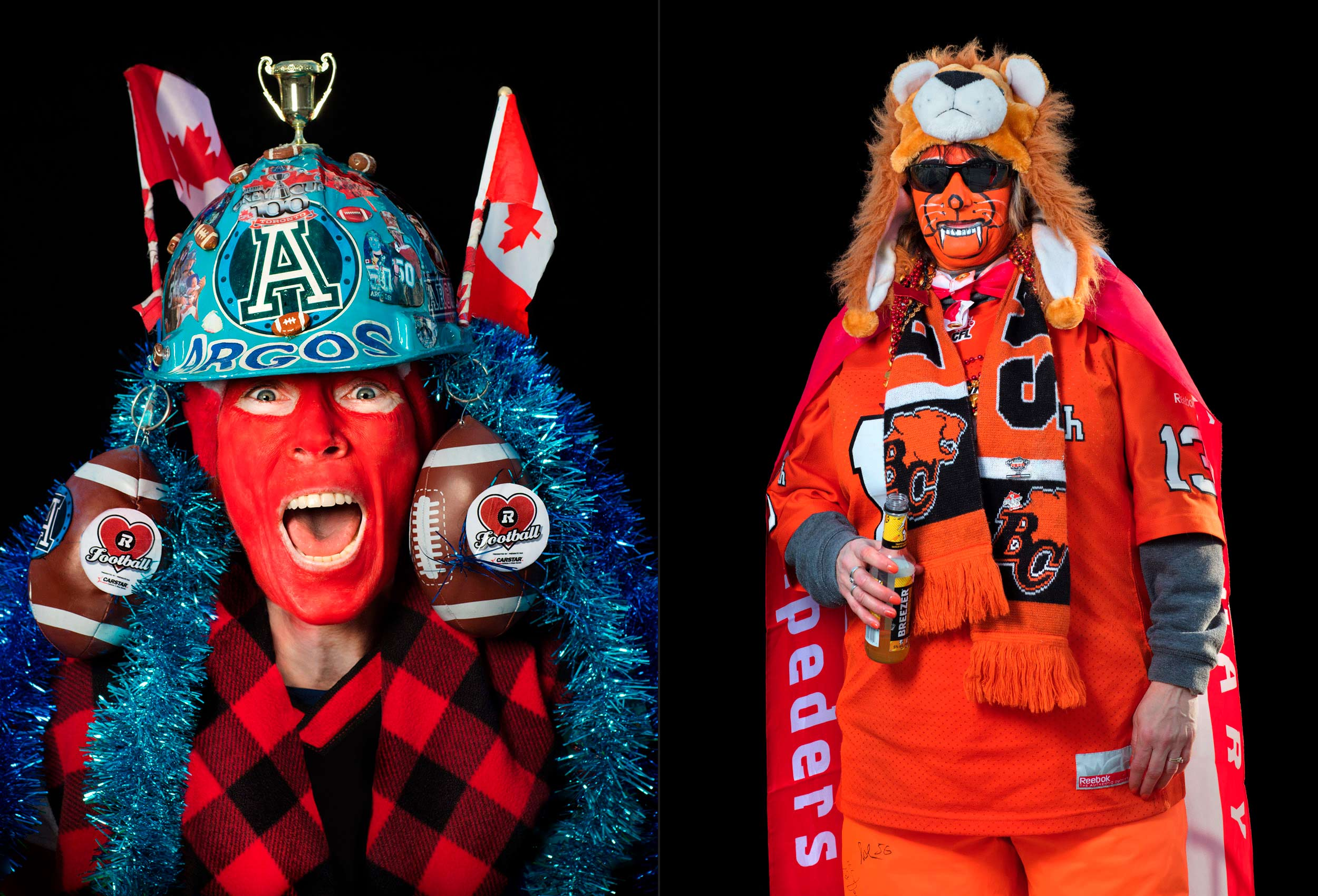 funny portraits of cfl super fans during the grey cup in toronto