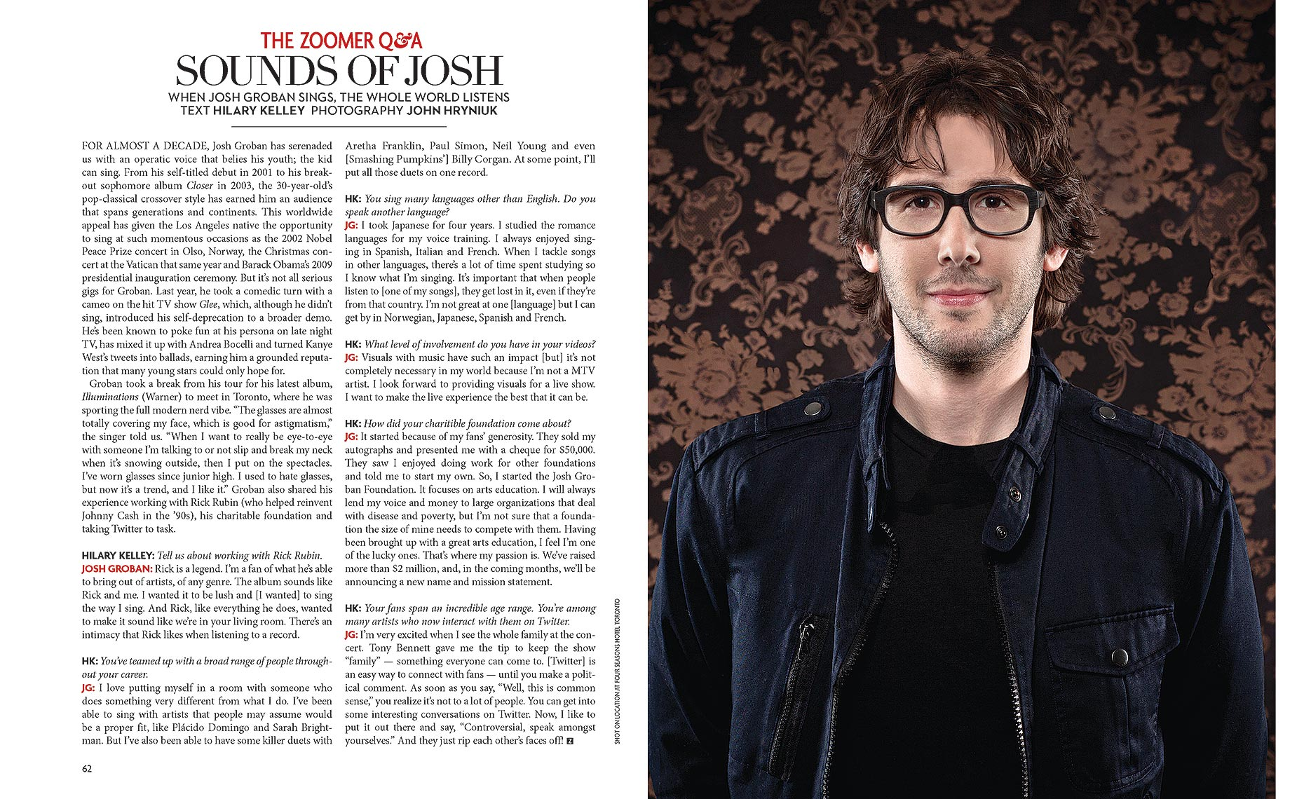 Singer Josh Groban for Zoomer Magazine in Toronto