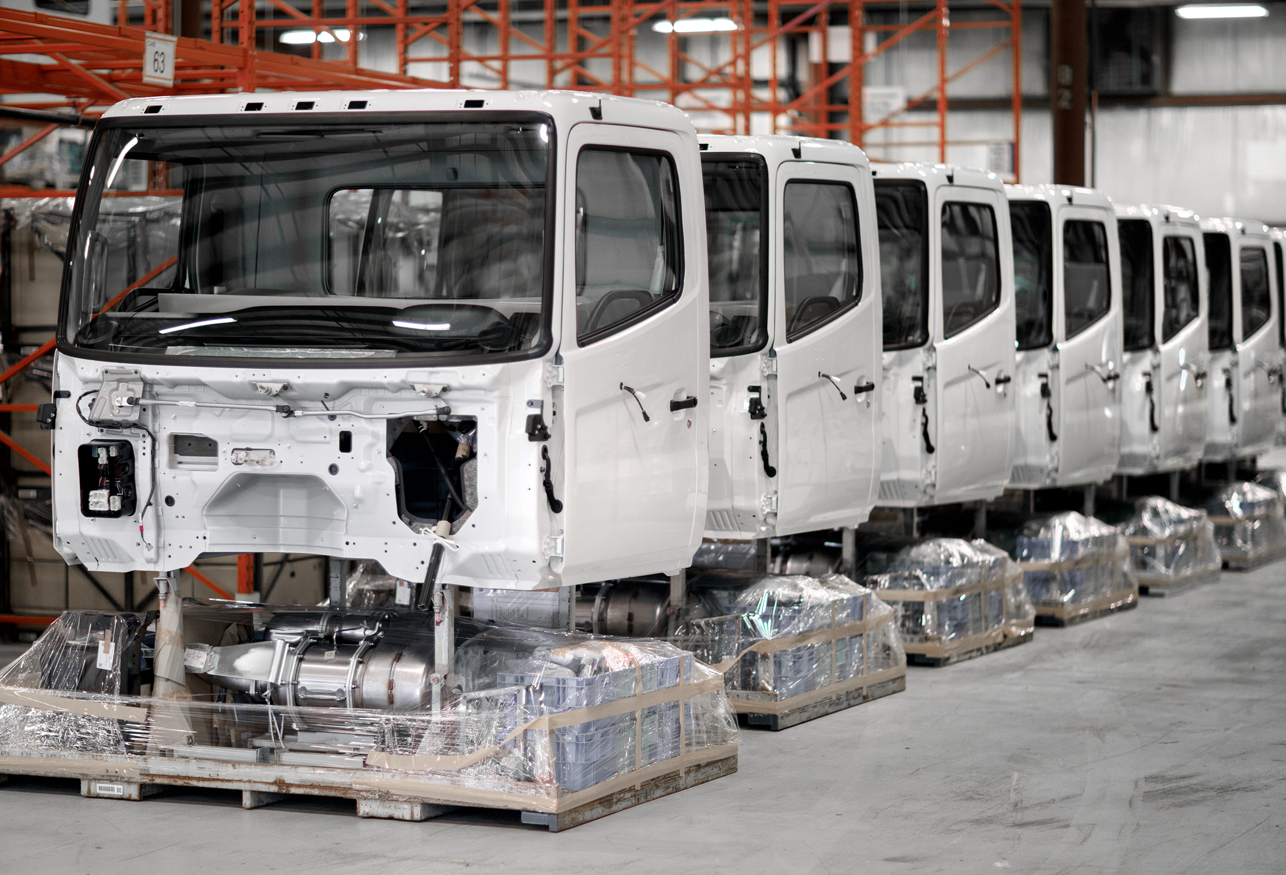hino trucks wait to be assembled at the canadian assembly plant in cambridge